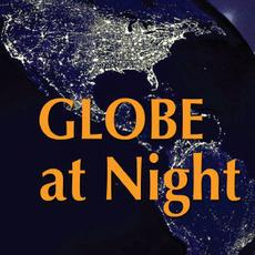Globe At Night Text over image of North and South America at night showing light patterns of human settlements.