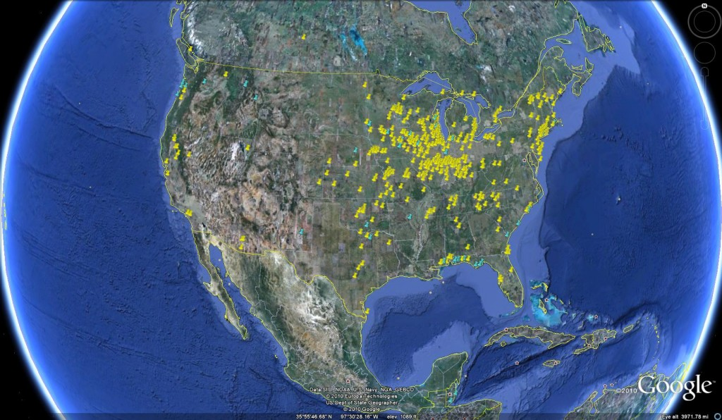 A map of all of the dragonfly swarm sightings submitted by citizen scientists in 2010. (Courtesy image)