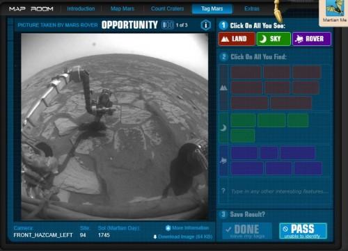 Mars tagging screen shot