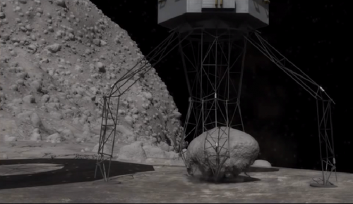 Concept using robotic arms to retrieve a boulder from the surface of an asteroid
