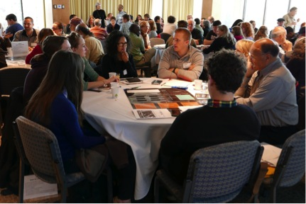 Participants deliberating about NASA's Asteroid Initiative at the Museum of Science on November 15, 2014. Photo by David Rabkin, Museum of Science.
