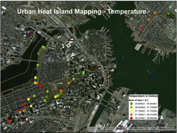 Two-day mean temperatures from Boston Urban Heat Island Mapping undertaken by the youth intern data collectors working at the Museum of Science.