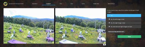 Screenshot of the Season Spotter website