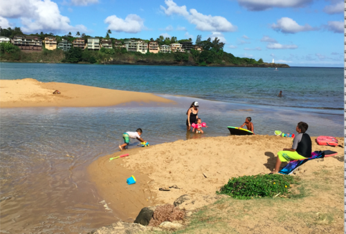 Children play at the mouth of the Nawiliwili Stream where high bacteria levels are often measured by Surfrider Kauai. Photo credit: Surfrider Kauai.