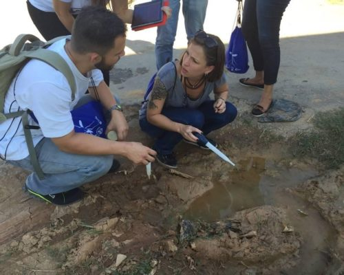 Citizen scientists in Brazil using the GLOBE Observer Mosquito Habitat Mapper to sample mosquito larvae in a tire track puddle. (Photo Credit: Rusty Low, Institute for Global Environmental Strategies)