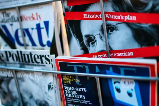 newsstand image of magazines