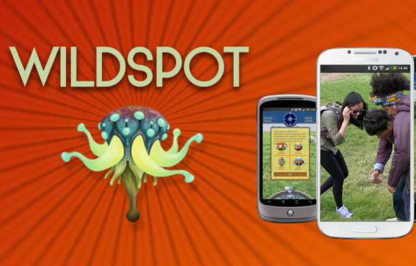 On a red background, the word WILDSPOT, a cartoon of an alien organism, and two phones, one with a screenshot of the game, and the other with a photo of three teens outdoors playing.