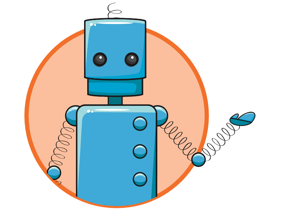 A blue cartoon robot with slinkies for arms holds one hand out in a friendly gesture.