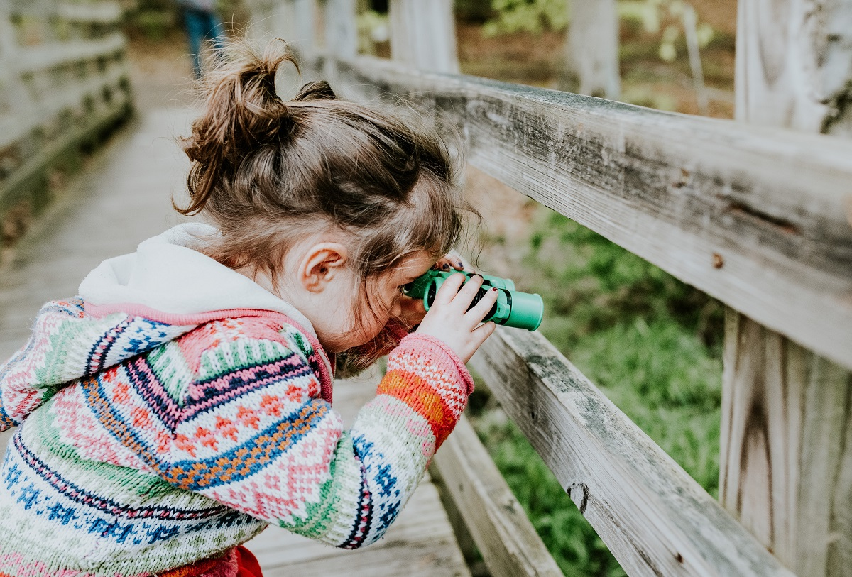 A young girl with short brown hair in a ponytail and a multicolored hooded sweater peers through green toy binoculars. She looks between wooden fenceposts along a bridge in a garden.